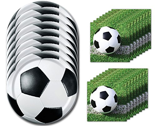 Sports Fanatic Soccer Dessert Napkins & Plates Party Kit for 8