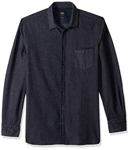 BOSS Orange Men's Magenton Basket Weave Flannel, Dark Blue ()