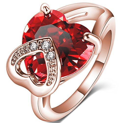 FENDINA Womens Double Love Hearts Wedding Engagement Rings Best Promise Rings for Her - 18K Rose Gold Plated - Created Heart Ruby