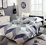 Mauve King Size Duvet Cover Eikei Home Minimal Style Geometric Shapes Duvet Quilt Cover Modern Scandinavian Design Bedding Set 100-percent Cotton Soft Casual Reversible Block Print Triangle Pattern (King, Mauve Sky)