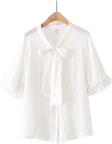 Camisa de Verano para Mujer Cuello de Proa Corta Doble Capa ...