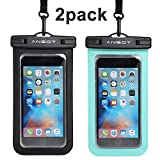 "Universal Waterproof Case Ansots Wateproof Phone Pouch for Apple iPhone X, 8,8P,7,7P,6S 6,6S Plus, SE 5S, Samsung Galaxy S7, S6 Note 5 4, HTC LG Sony Nokia Motorola up to 7.0"" diagonal - 2 PACK"