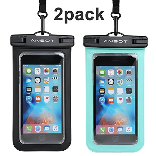 Universal Waterproof Case Ansots Wateproof Phone Pouch for Apple iPhone X, 8,8P,7,7P,6S 6,6S Plus, SE 5S, Samsung Galaxy S7, S6 Note 5 4, HTC LG Sony Nokia Motorola up to (Apple Ipod Lanyard)