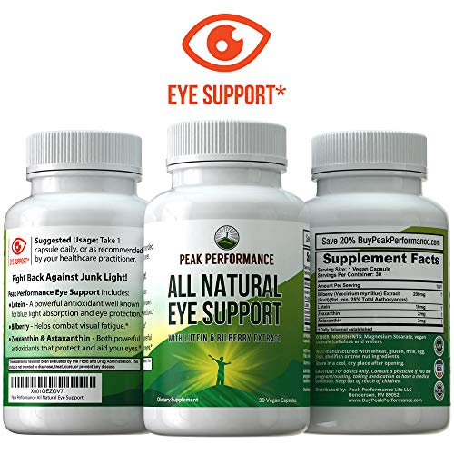 Eye Vitamins - Best Eye Supplement for Computer Users with Lutein, Zeaxanthin, Astaxanthin, Carotenoids, and Bilberry Extract. Great Protection for Eyes. 30 Vegan Capsules by Peak Performance
