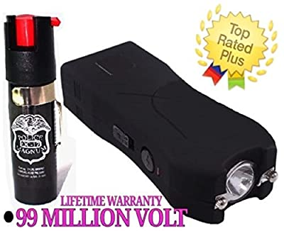 Hot Sale! Black 99 Million Volt Stun Gun w/ LED Light + Free taser Holster & Pepper Spray