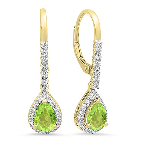 Dazzlingrock Collection 10K 7X5 MM Each Pear Peridot & Round White Diamond Ladies Dangling Drop Earrings, Yellow Gold (Pear Peridot Drop)
