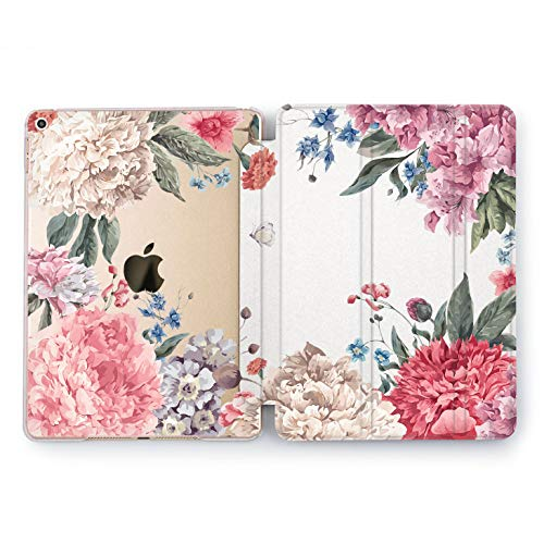 (Wonder Wild Flower View iPad Case Mini 1 2 3 4 Air Floral iPad Pro 10.5 12.9 Tab 2018 2017 9.7 inch Apple 5th 6th Generation Girly Gentle Cute Flower White Peony Look Petal Stand Smart Cover Design)