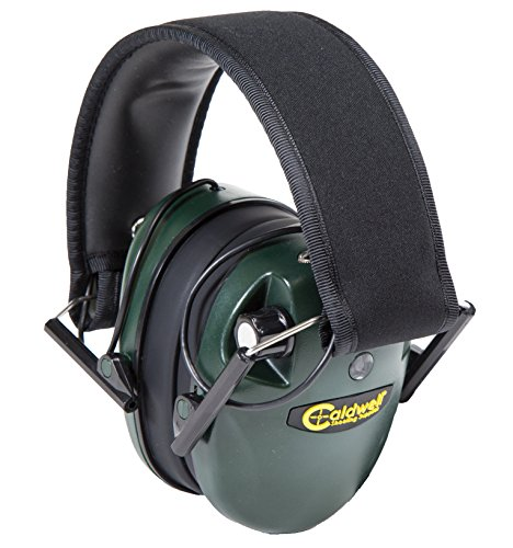 Caldwell E-Max Low Profile Electronic 23 NRR Hearing Protection with Sound Amplification and Adjustable Earmuffs for Shooting, Hunting and Range, Green