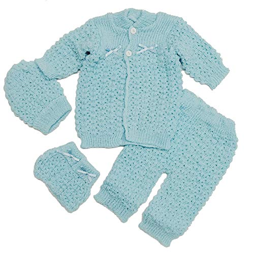 Abelito Baby's Four Piece Crochet Outfit Set One Size Blue