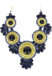 "Zad Blue Beaded Medallion Bib Necklace 24""-26"""