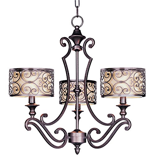(Maxim 21153WHUB Mondrian 3-Light Chandelier, Umber Bronze Finish, Glass, MB Incandescent Incandescent Bulb , 8W Max., Dry Safety Rating, 3000K Color Temp, Shade Material, 700 Rated Lumens)