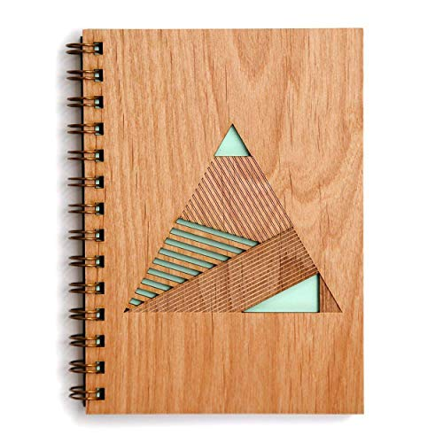 Geometric Pyramid Laser Cut Wood Journal (Notebook/Birthday Gift/Gratitude Journal/Handmade) ()
