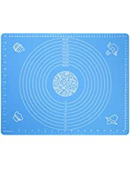 """Silicone Baking Mat for Pastry Rolling Dough with Measurements - 19.7"""" x 15.7"""" BPA Free Non stick and Non Slip Blue Table Sheet Baking Supplies for Bake Pizza Cake"""