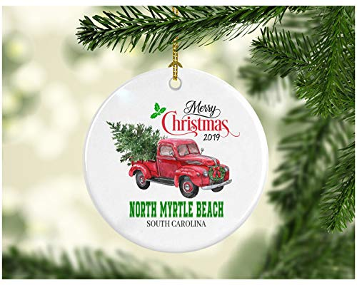 Christmas Decoration Tree Merry Christmas Ornament 2019 North Myrtle Beach South Carolina Funny Gift Xmas Holiday as a Family Pretty Rustic First Christmas in Our New Home Ceramic 3