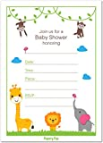30 Baby Shower Invitations for Boys or Girls (with Envelopes) - Gender Neutral - Fits Perfectly with Safari Jungle Zoo Animals Baby Shower Decorations and Supplies