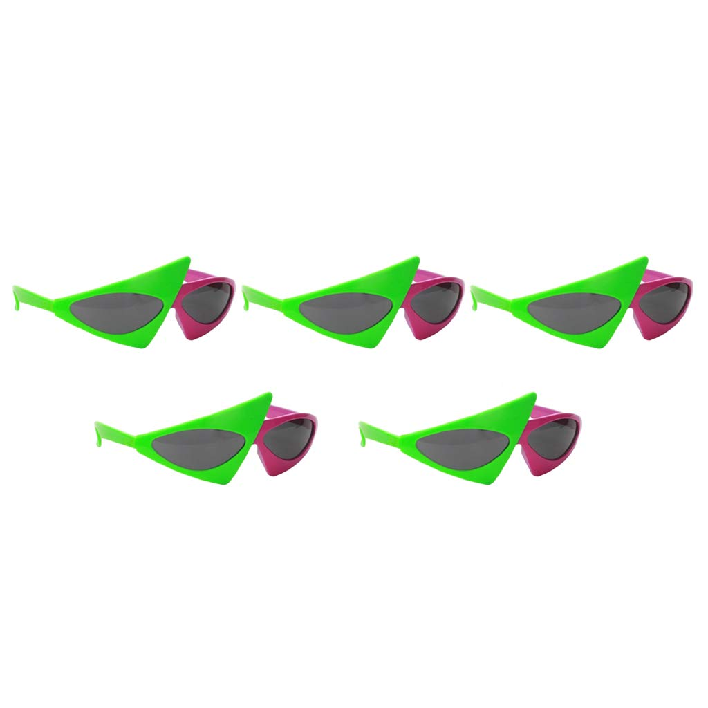 Prettyia 5 Pieces Novelty Roy Purdy Sunglasses Pink Green Triangle Glasses for Adults Kids