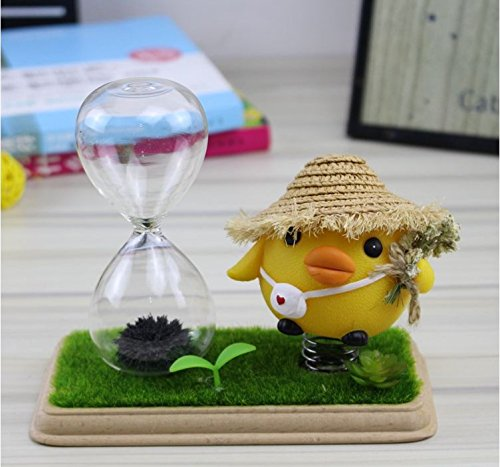 ElaineStore magnetic hourglass,sand timer with a yellow chick (chic)