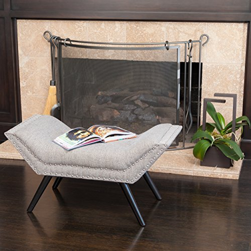 Christopher Knight Home 239313 Beverly Grey Fabric Ottoman Bench,