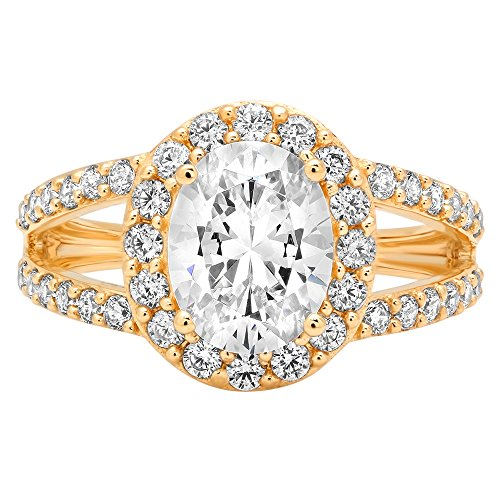 (Clara Pucci 2.24 ct Brilliant Oval Cut Simulated Diamond CZ Designer Halo Solitaire Wedding Bridal Promise Ring in Solid 14k Yellow Gold, Size 10.5)