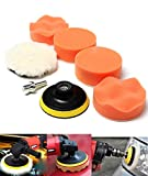 Fendior 6PCS 4'' High Gross Wax Polishing Buffing Pad Kit Car Polishing Buffer with Drill Adapter for M10 Connector Drill