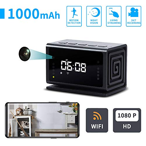 HoneiLife Wireless Hidden Camera – Clock Spy Camera 1080P WiFi Camera, IP Camera with Bluetooth Speaker, Radio,Nanny Cam with Night Vision & Motion Detection, Covert Security Camera for Home & Office