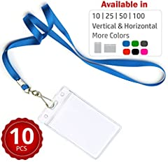 "Designed for durability, our better-made lanyards resist fraying, wrinkling & tearing. Even their plastic ID cases are thicker & stronger. Set provides 10 lanyards & 10 (3.74""x 2.5"") vertical holders. When you're making that first..."