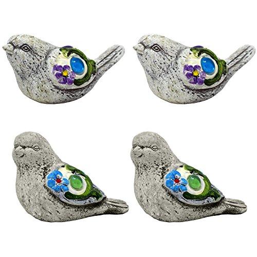 Spring Garden Decorative Bird Sculptures, Set of 4 Outdoor Decor
