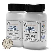 Sodium Hydroxide - Lye -Caustic Soda NaOH 99.9% Pure Food Grade 10 Ounces in plastic bottle