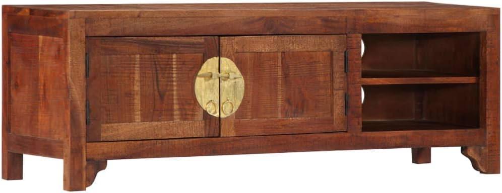 UnfadeMemory Mueble para TV,Mesa para TV,Mesa Baja para Salón Dormitorio,con 2 Puertas y 2 Compartimentos,Madera Maciza de Acacia 120x30x40cm: Amazon.es: Hogar
