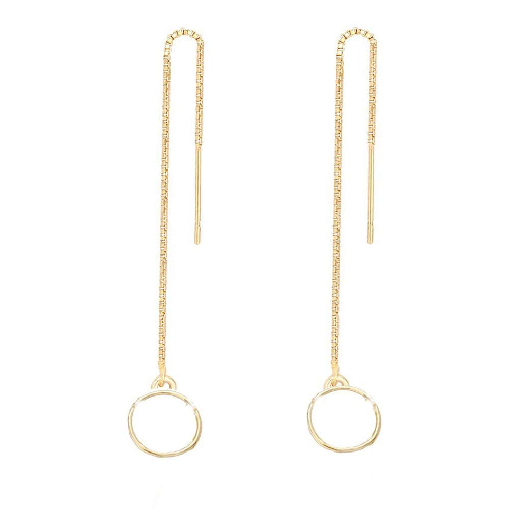 Nathis Yellow Simple Geometric Circle Drop Threader Earrings/ Valentines Day By Sizzling Silver