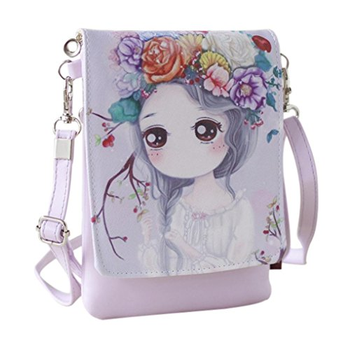 Cute Cartoon Crossbody Bags Travel Wallet Purse,SMYTShop iphone Case Cell Phone Holders Coin Pouch Handbag Shouder Bag Money Clip for Teens Girls Kids Students (Cherry)