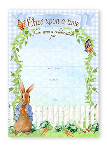 Peter Rabbit Party LARGE Invitations - 10 Invitations 10 Envelopes - Baby Shower Invitations - Birthday Invitations (Easter Birthday Party Invitations)