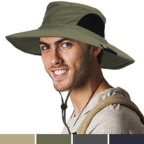 SUN CUBE Premium Outdoor Sun Boonie Hat With Wide Brim, Adjustable Chin Strap for Fishing, Hiking, Safari, Travel by Summer Sun Protection, UPF 50+, Breathable| Packable Cap for Men, Women (Olive) Adult Bucket Hat
