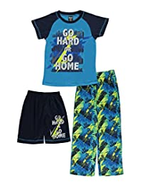 "Quad Seven Big Boys' ""Go Hard or Go Home"" 3-Piece Pajamas"