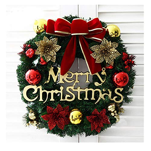 Merry Christmas Garland, Red Poinsettia Pine Wreath Door Hanging Wreath Christmas Party Decoration Wall Ornament Christmas Party Decoration (as show)]()