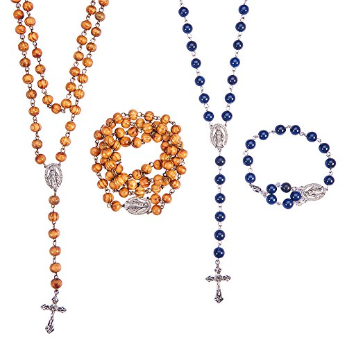 SUNNYCLUE Rosary Prayer Beads Making Kit DIY 7mm Wood Rosary Beads Catholic, 8mm Gemstone Catholic Beads Rosary Include Crucifix, Centerpiece, Jump Rings and Lobster Claw Clasps - Make 2 Rosaries