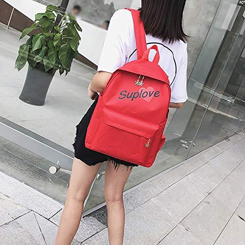 Students Bag Tote Fashion Canvas Letter Shoulder Bag School Backpack Red Women 5SRBwU