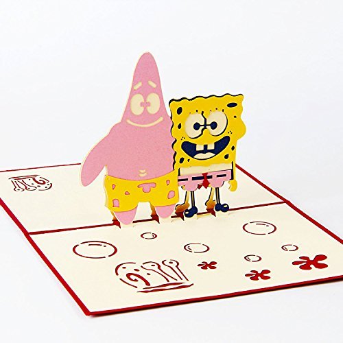 (Jerry & Maggie - Pop Up Greeting Card - Spongebob Squarepants Patrick Card 3D Paper Greeting Thank You Card Handmade Halloween Thanksgiving Kids Birthday Anime Comic)