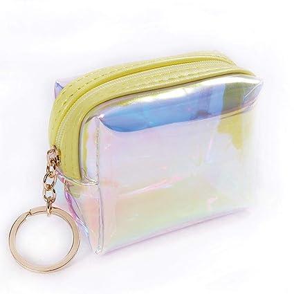 Haodou Mujeres Láser Holográfico Square Embrague Billetera Pequeño Monedero Niñas Brillante Bolsa Monederos Portatarjetas (Amarillo Claro)