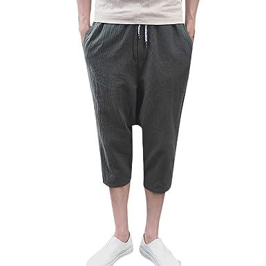LuckyGirls Hombres Pantalones Harlan de Casual Color Sólido ...