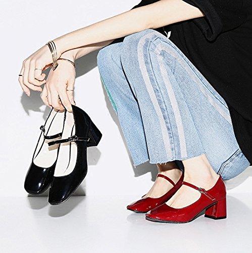 Talon unie SHOESHAOGE Chaussures Tête Couleur D'Un Boucle Patentes Bouche Red Profonde Travail Femme Rétro Mot Heels Carrée De Chaussures À De Les Peu High De ArSnftr