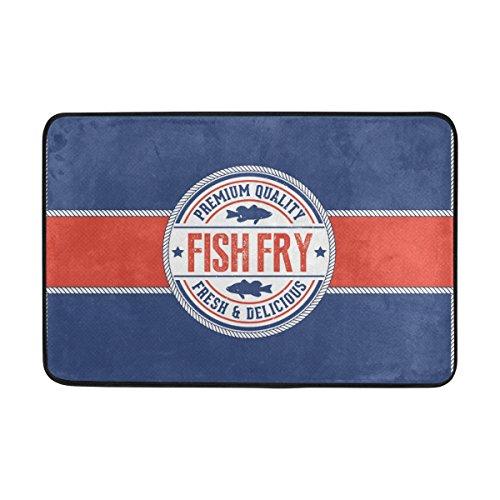LEISISI Vintage Friday Fish Fry Fashion Design Indoor Outdoor Doormat 23.6(L) X15.7(W) inch Non-Slip doormat Home -
