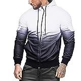 COOKI Mens Casual Pleated Splicing Zip up Long Sleeve Fashion Hoodie Hooded Sweatshirt Jacket Outwear Zipper M-3XL