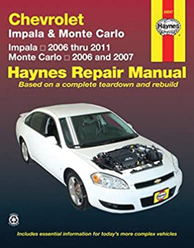 chevy monte carlo impala 06 11 monte carlo 06 07 haynes repair rh amazon com Chevrolet Owner's Manual Chevrolet 2014 Chevy Impala Interior