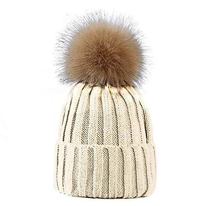 f7edfa1492d LIVERPOOL ENTERPRISES LTD Women Ladies Winter Pom Pom Hat Cosy Beanie Warm  Winter Cap Pom Pom Bobble Hat (White Beige Pom Pom)  Amazon.co.uk  Kitchen    Home