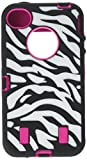 Generic Rose Pink White Zebra Combo Hard Soft High Impact iPhone 4 4S Armor Case Skin Gel with free screen protector