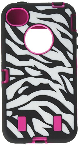 BlastCase Rose Pink White Zebra Combo Hard Soft High Impact iPhone 4 4S Armor Case Skin Gel with free screen protector