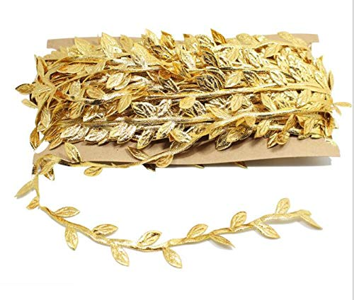 EMAAN 98 ft Artificial Vine,Gold Leaf Ribbon, Garland Baby Hair Band Wedding Party Christmas Home Wall DIY Gift Craft Decoration(Gold)