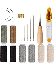AIEX 18Pcs Upholstery Repair Kit Leather Hand Sewing Needles Craft Tools with Upholstery Needles, Thread, Drilling Awls for Leather Canvas Sewing