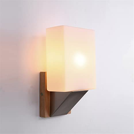 E27 European Style Modern Stylish Handmade Glass Lampshade Wood Wall ...